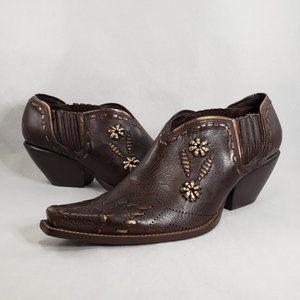 BCBG Leather Square Toe Embellished Ankle Boots 10